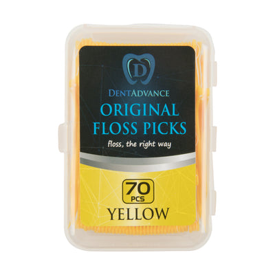 DentAdvance  Dental Floss Picks - Easy Reach Back Teeth | Tooth Flossers | 70 ct, w/ Travel Case - Yellow