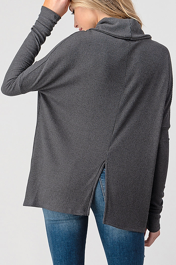 natural Life cowl neck long sleeve boxy ribbed top with back slit