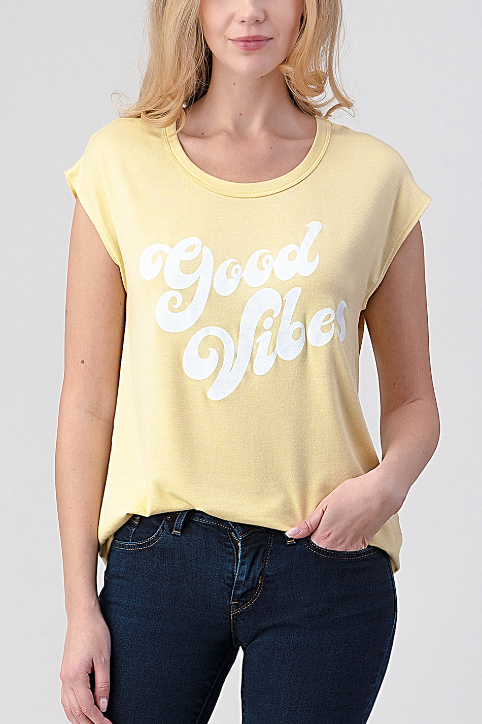 Natural Life 'Good Vibes' graphic tee made in USA