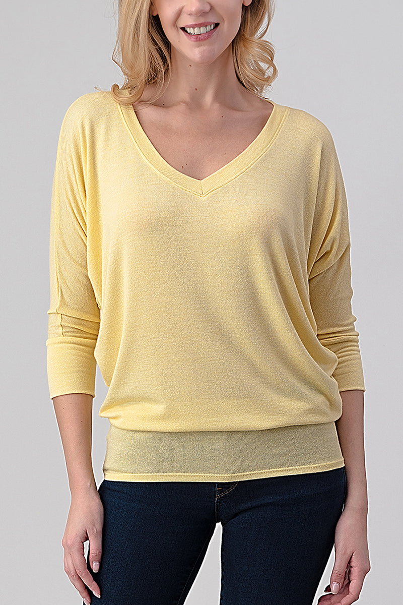 3/4 dolman sleeve v-neck top by Natural Life, made in USA