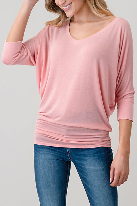 natural life 2731 soft intermingled hacci 3/4 dolman sleeve top