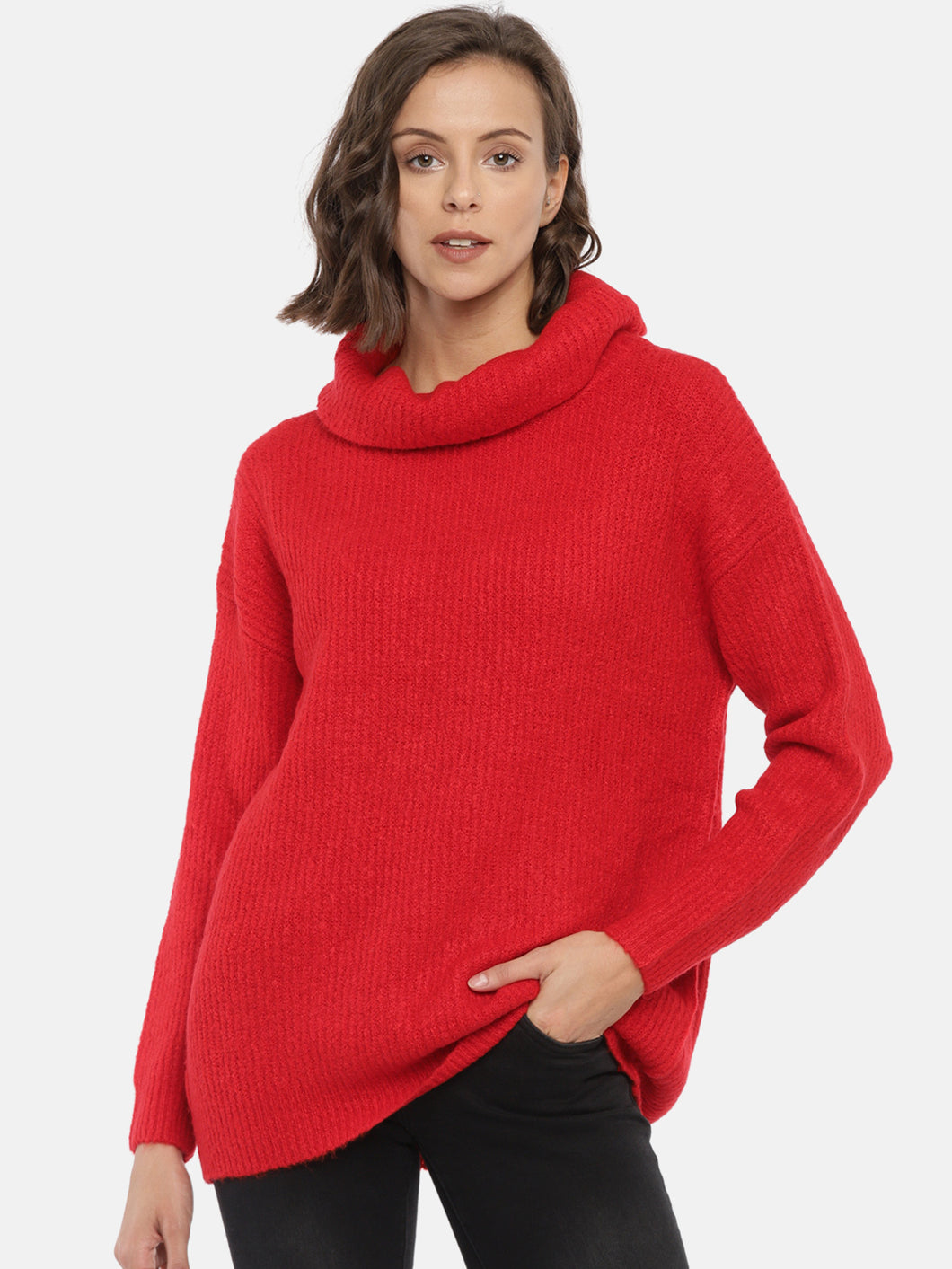Women Red Solid Pullover Sweater