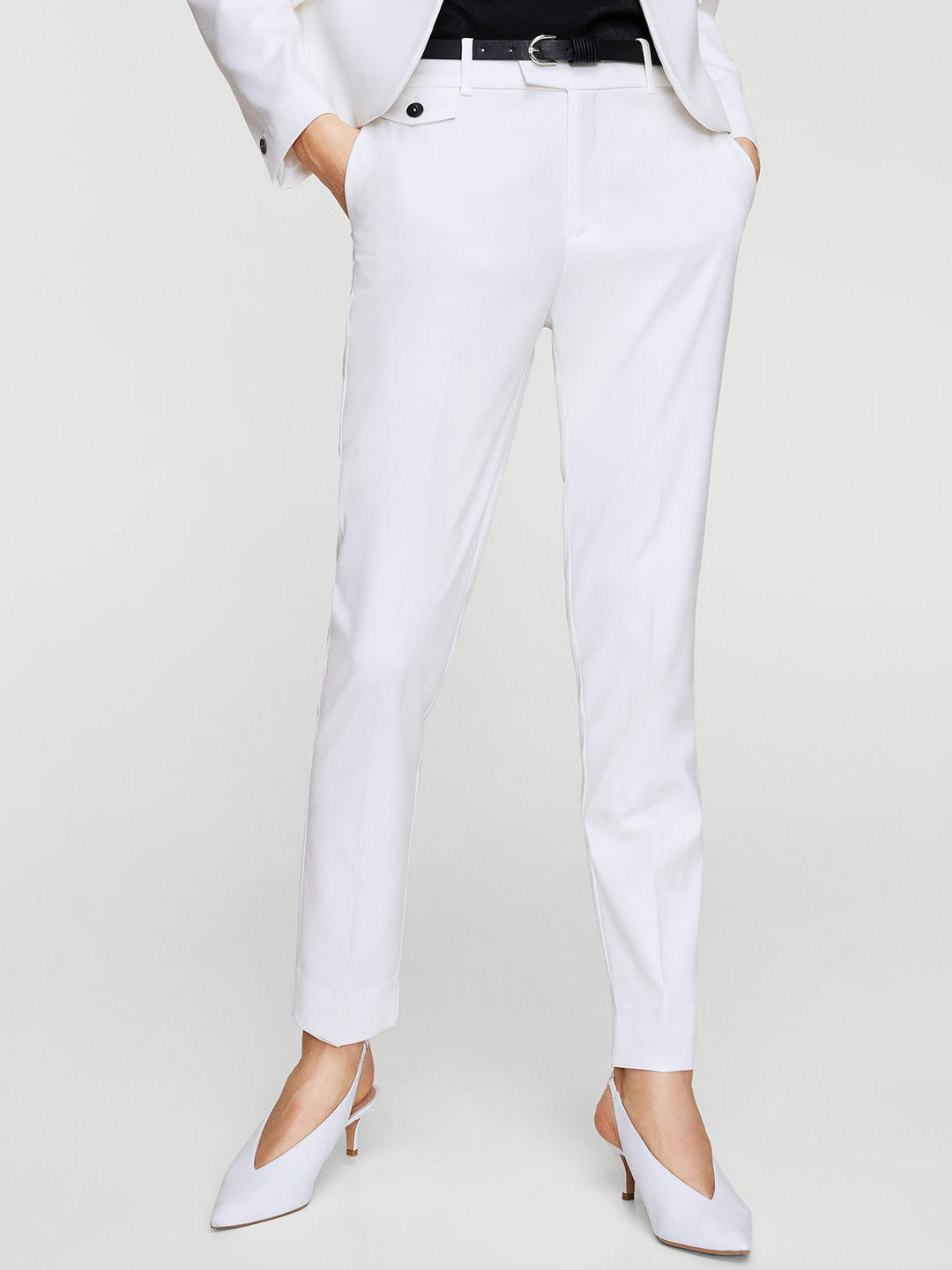 Women White Regular Fit Solid Cropped Formal Trousers