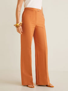 Women Orange Loose Fit Solid Parallel Trousers