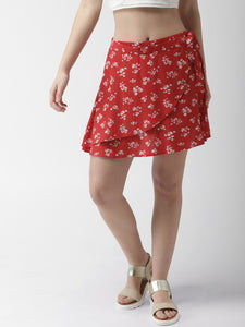 Women Red & White Floral Print Print Mini Wrap Skirt