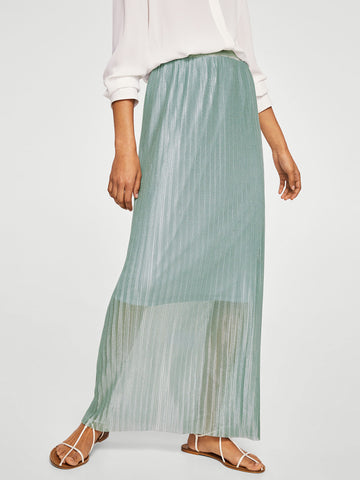 Grey Accordion Pleat Maxi Straight Skirt