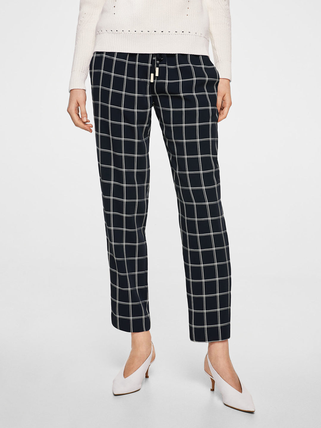 Women Navy Blue Regular Fit Checked Trousers