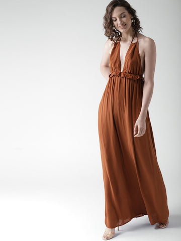 Brown Solid Maxi Dress
