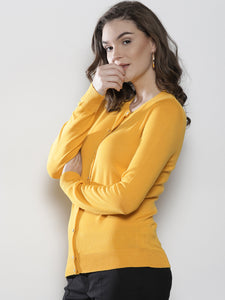 Women Yellow Solid Cardigan