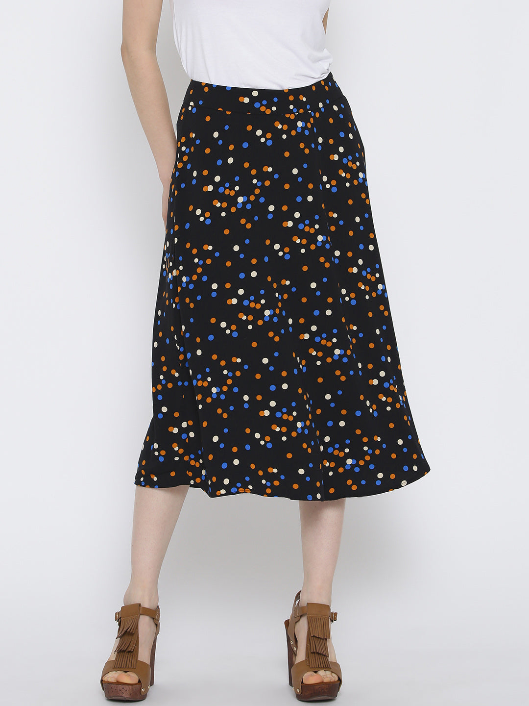 Black Polka Dot Print A-Line Skirt
