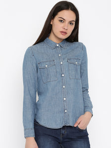 Women Blue Casual Shirt