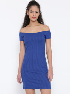 Women Blue Self-Striped Off-Shoulder Bodycon Dress