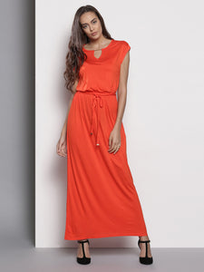 Orange Solid Maxi Dress