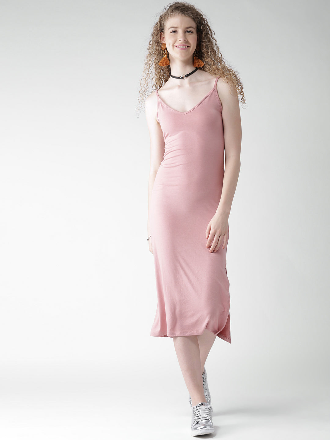 Pink Solid Midi Dress