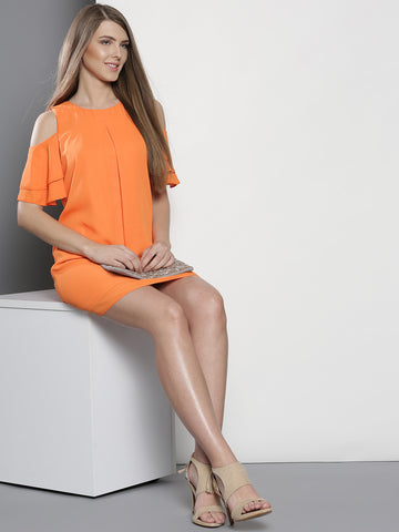 Women Orange Solid A-Line Dress