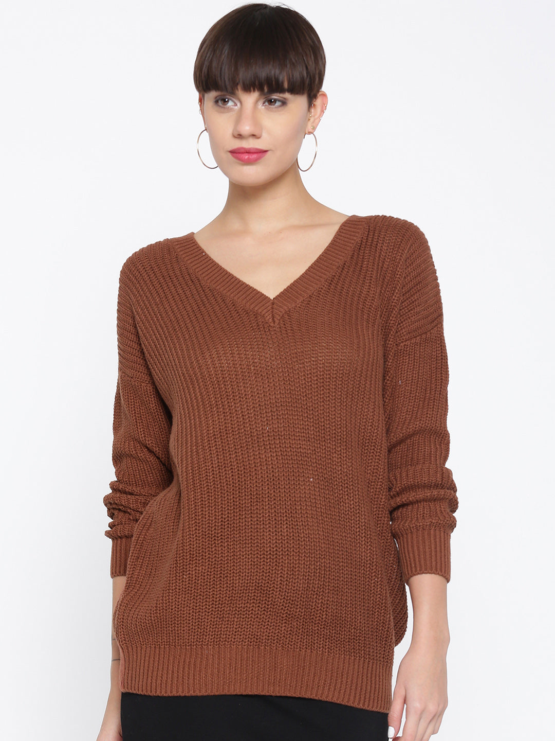 Brown Solid Sweater