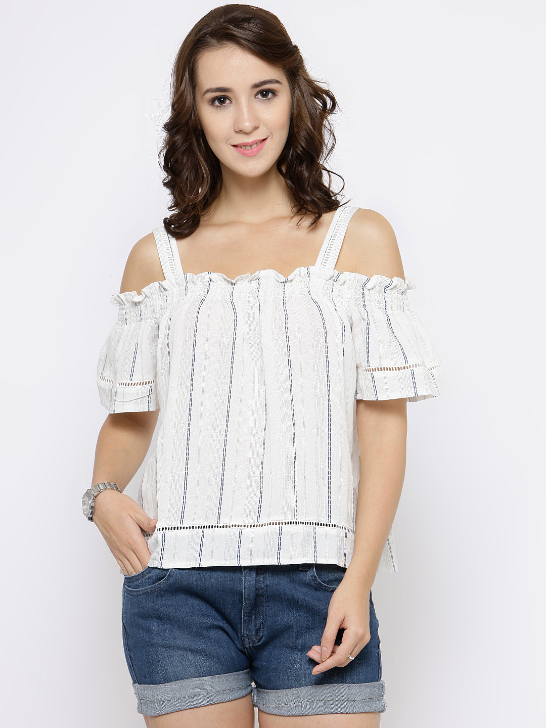 Women Off-White Cold-Shoulder Striped Top