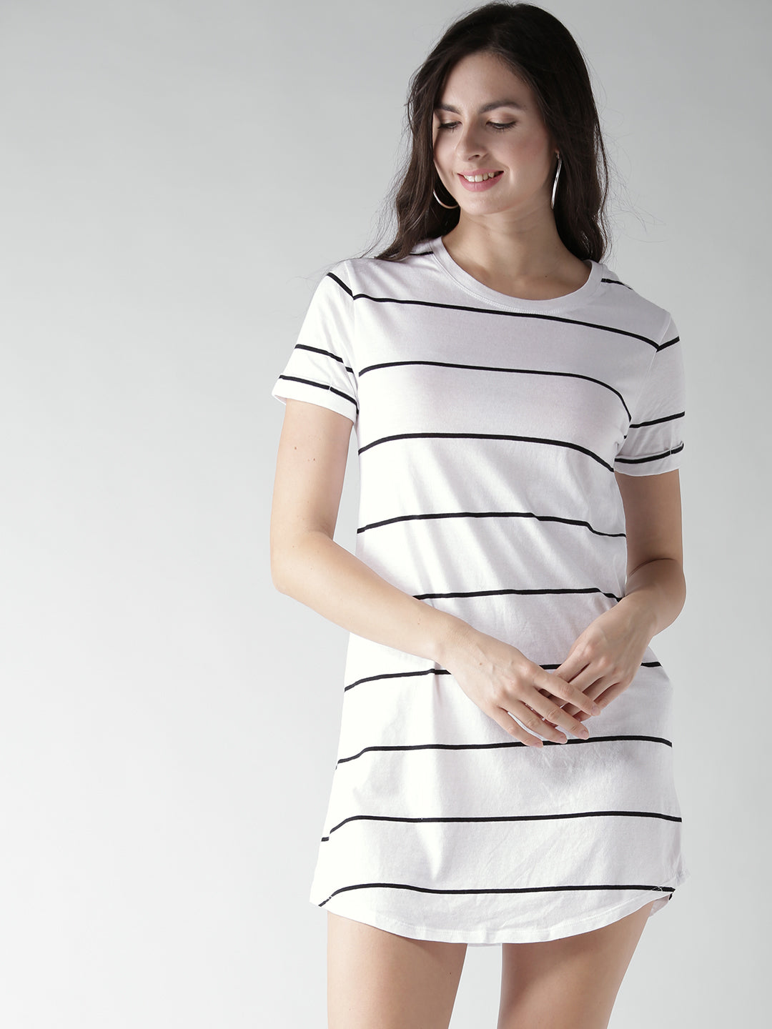 Women White & Black Striped T-shirt Dress