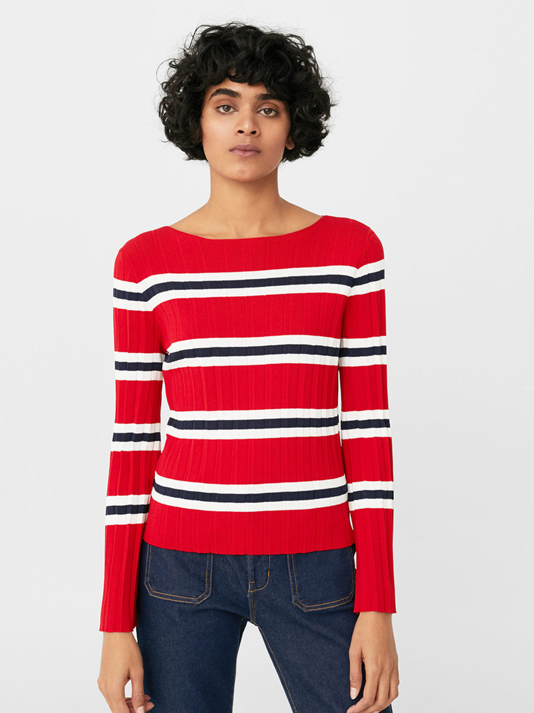 Women Red & Off-White Striped Sweater