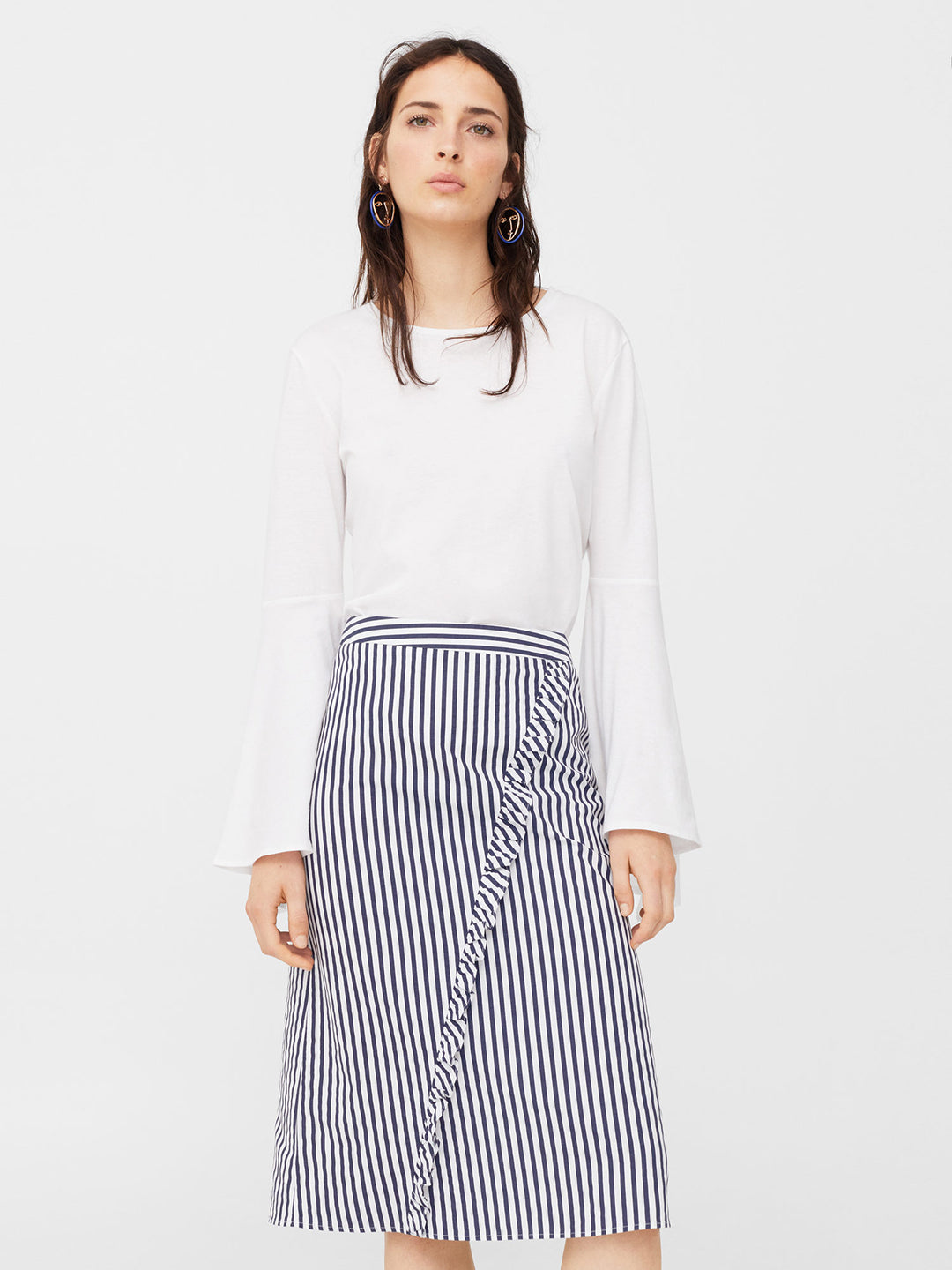 White & Navy Striped A-Line Skirt