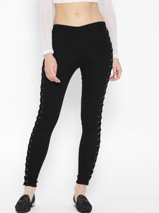 Women Black Regular Fit Solid Joggers