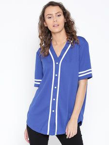 Women Blue Regular Fit Printed Back Collarless Casual Shirt