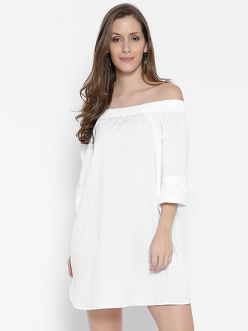 Women White Solid Shift Dress