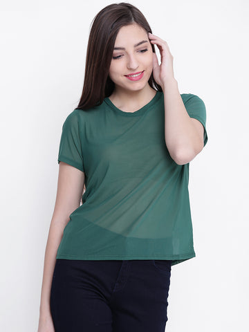 Women Green Sheer Top