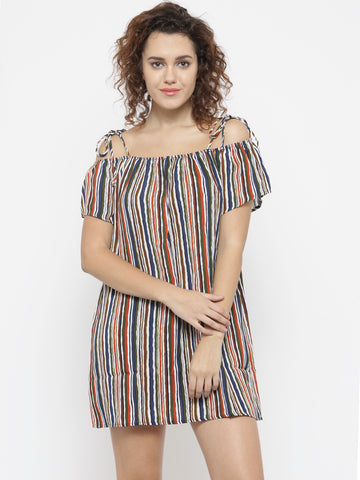 Women Multicoloured Striped A-Line Dress