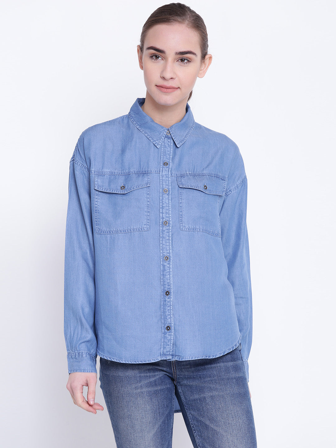 Women Blue Regular Fit Solid Denim Casual Shirt