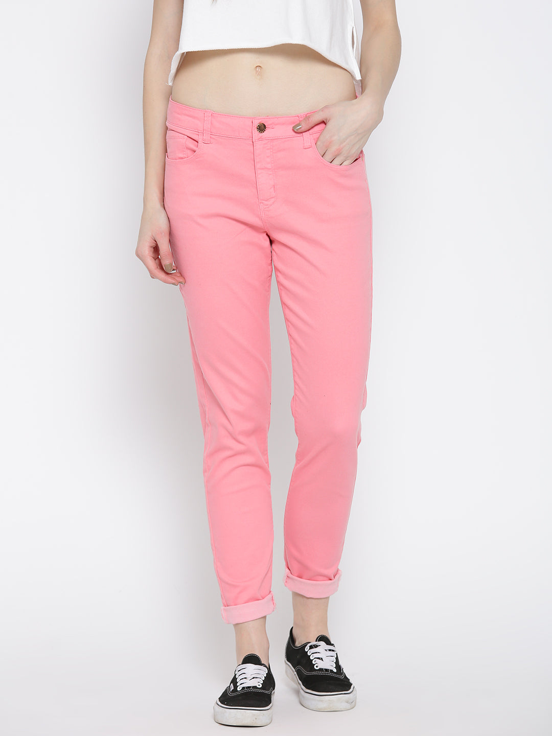 Pink Skinny Fit Solid Casual Trousers