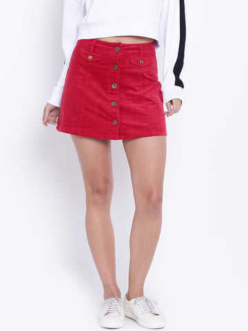 Red Panelled Corduroy Mini A-Line Skirt