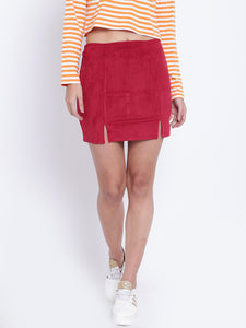 Women Red Mini Pencil Skirt