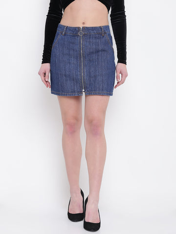 Blue Denim Mini A-Line Skirt