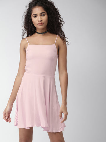 Pink Solid Fit & Flare Dress