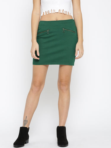 Green Denim Mini Pencil Skirt