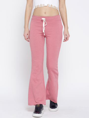 Pink Regular Fit Solid Bootcut Trousers