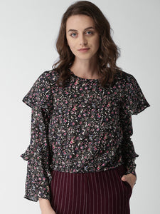 Women Black Printed Blouson Top
