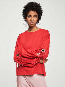 Women Red Solid Sweatshirt with Tie-ups