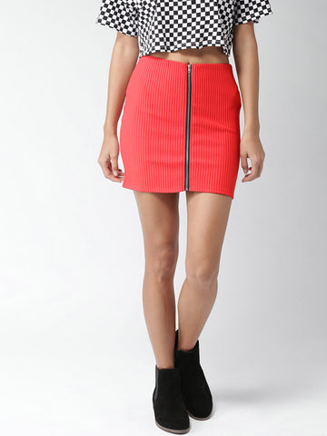 Red Self-Striped Pencil Skirt