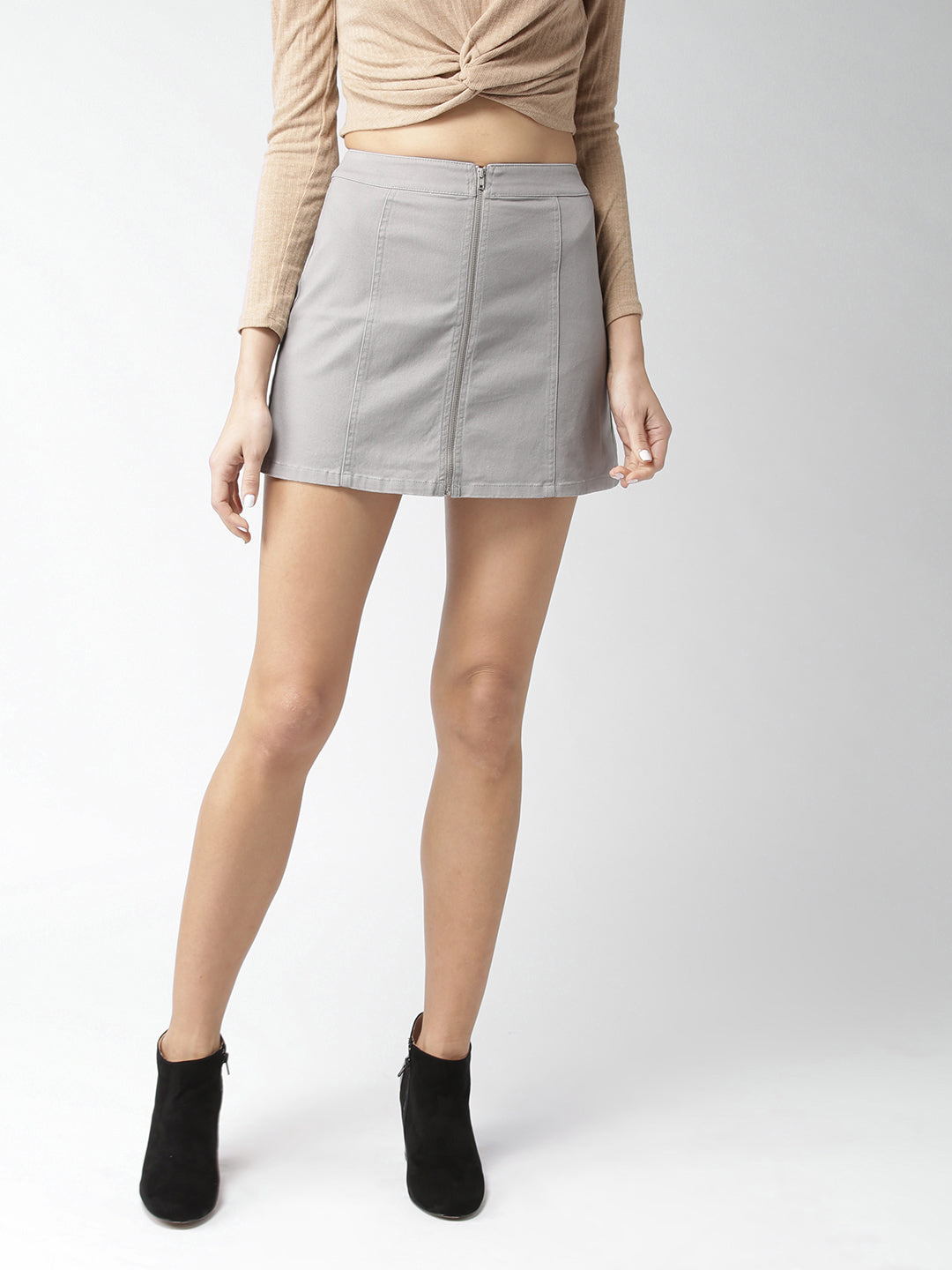 Grey Denim Mini A-Line Skirt