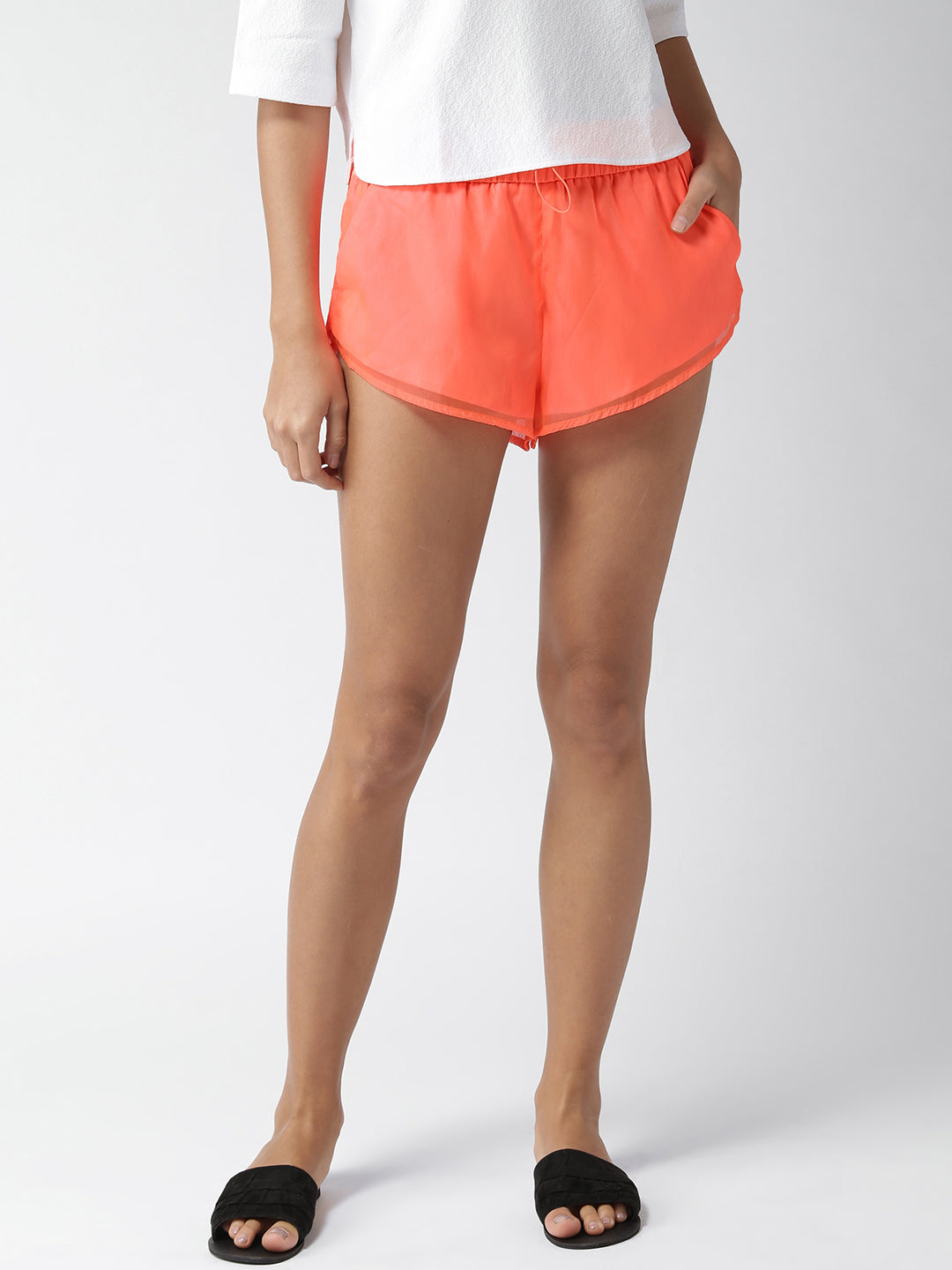 Women Neon Orange Solid Regular Fit Regular Skirt