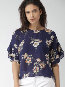 Women Blue Printed Top