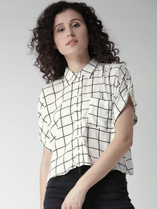 Women White & Black Checked Casual Shirt