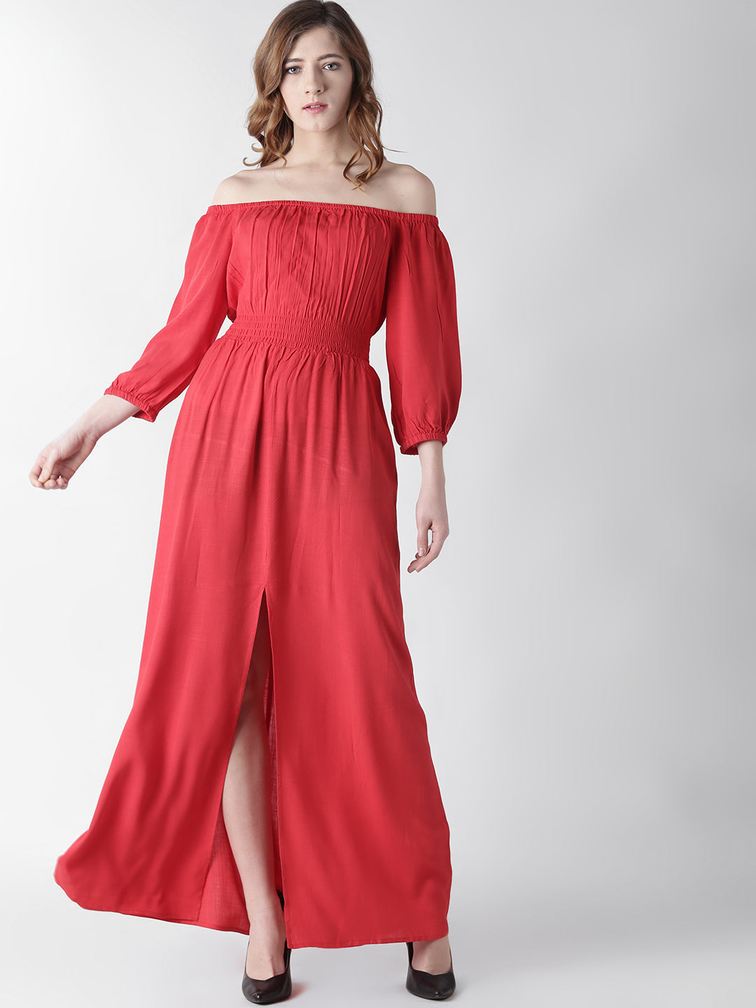 Women Maxi Red Dress with Off-shoulder sleeve