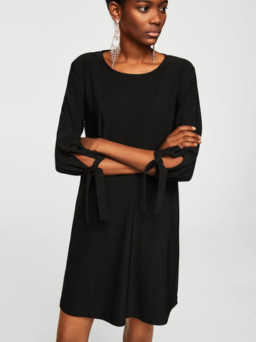 Women Black Solid A-Line Dress