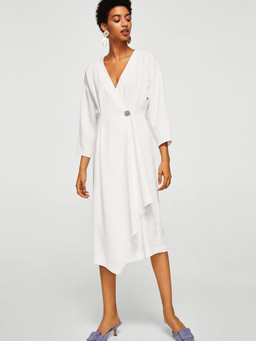 Women White Solid Wrap Dress