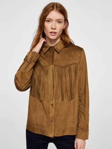 Brown Fringed Solid Casual Shirt