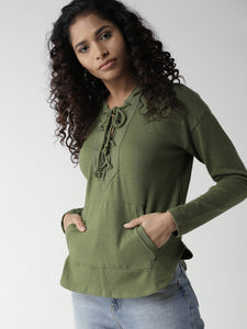 Women Green Solid Hooded Top