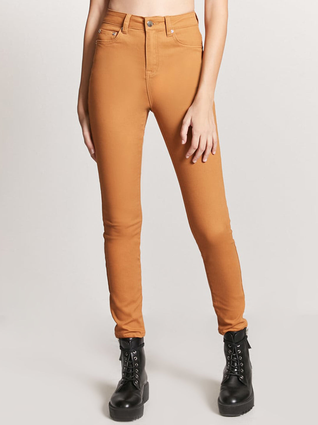 Women Orange Skinny Fit Solid Cigarette Trousers